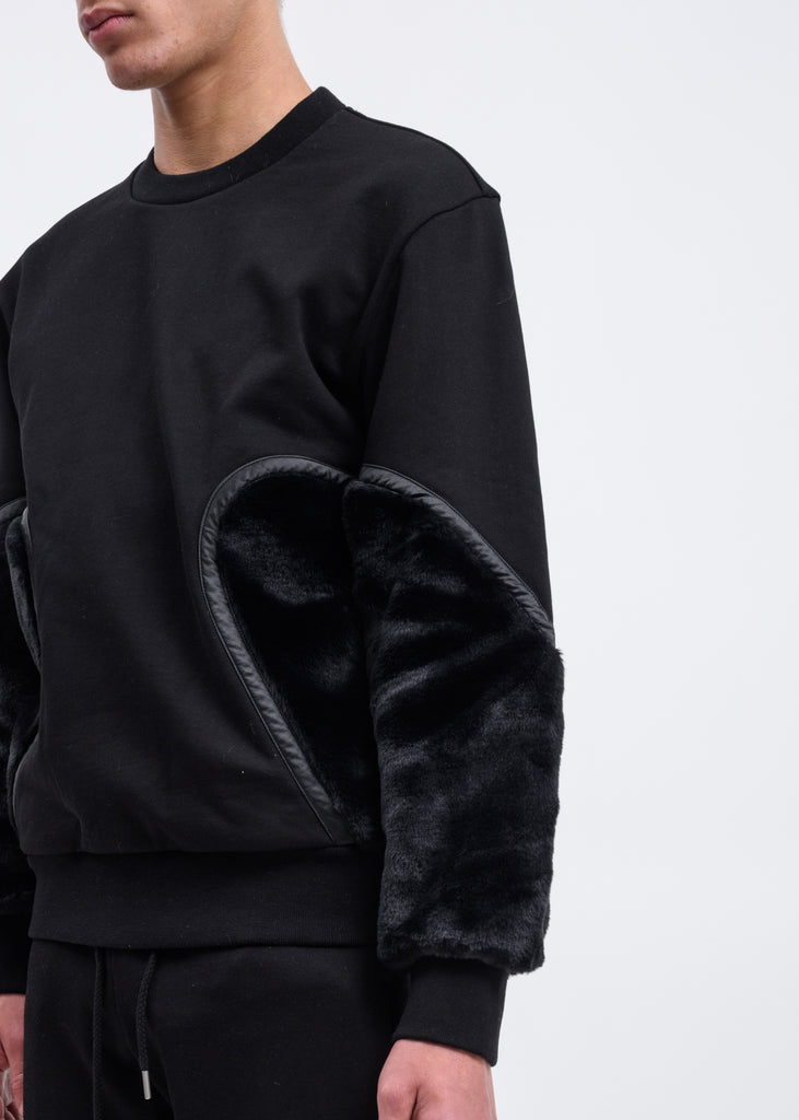 Black Faux-Fur Panelled Sweatshirt