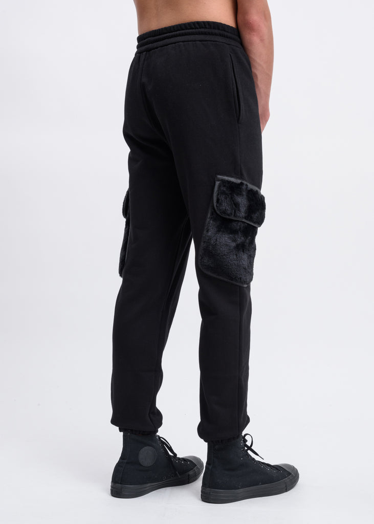 Black Faux-Fur Patch Cargo Pants