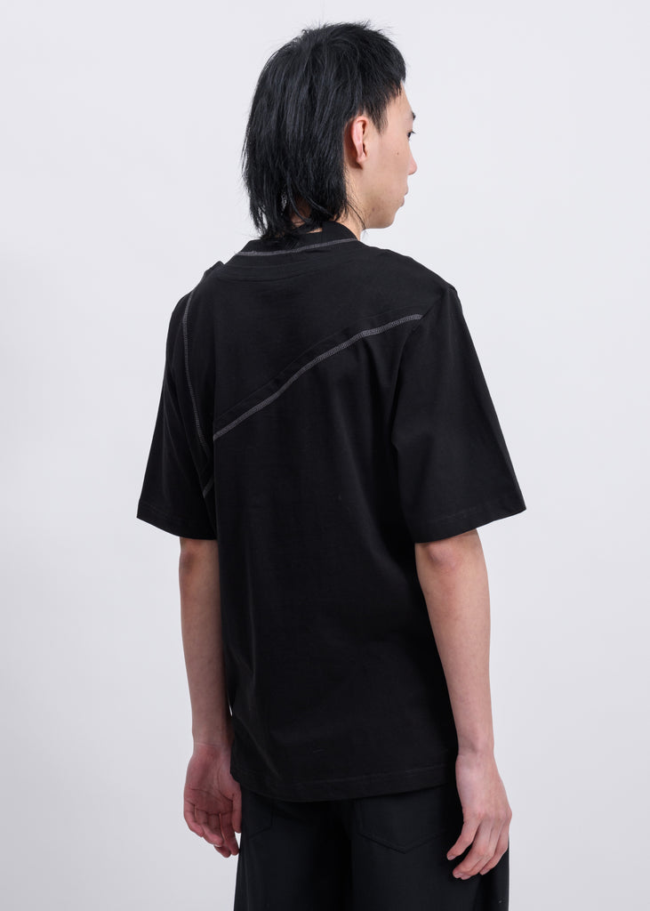 Black Jersey Layered Oversized T-Shirt