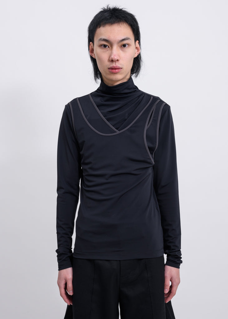 Black Layered High Neck Long Sleeves