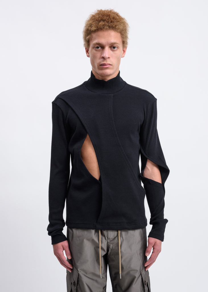 Black Layered Turtleneck Sweater