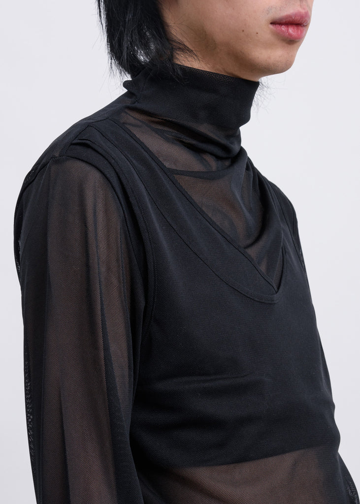 Black Mesh Jersey Layered High Neck Long Sleeves