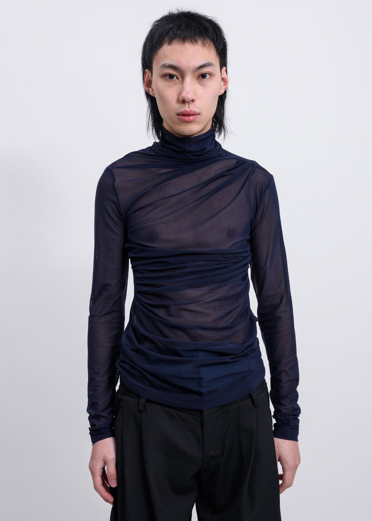 Nary  Mesh  Layered High Neck Long Sleeves