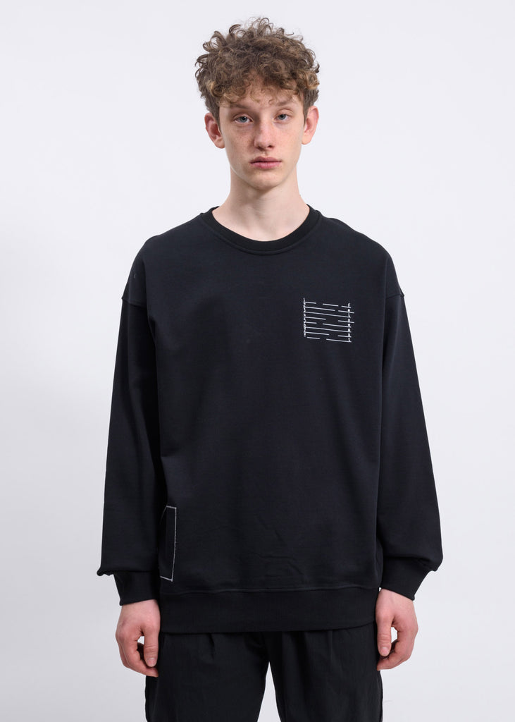 Black Numbered Graphic Sweatshirt