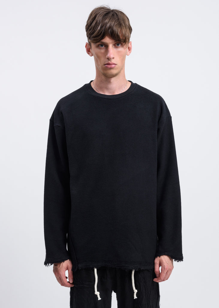 Black Reversed Terry Distressed Sweatshirt