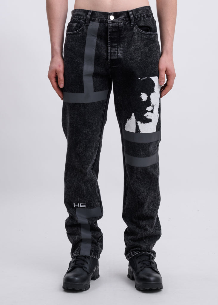 Black Faces Reflective Jeans