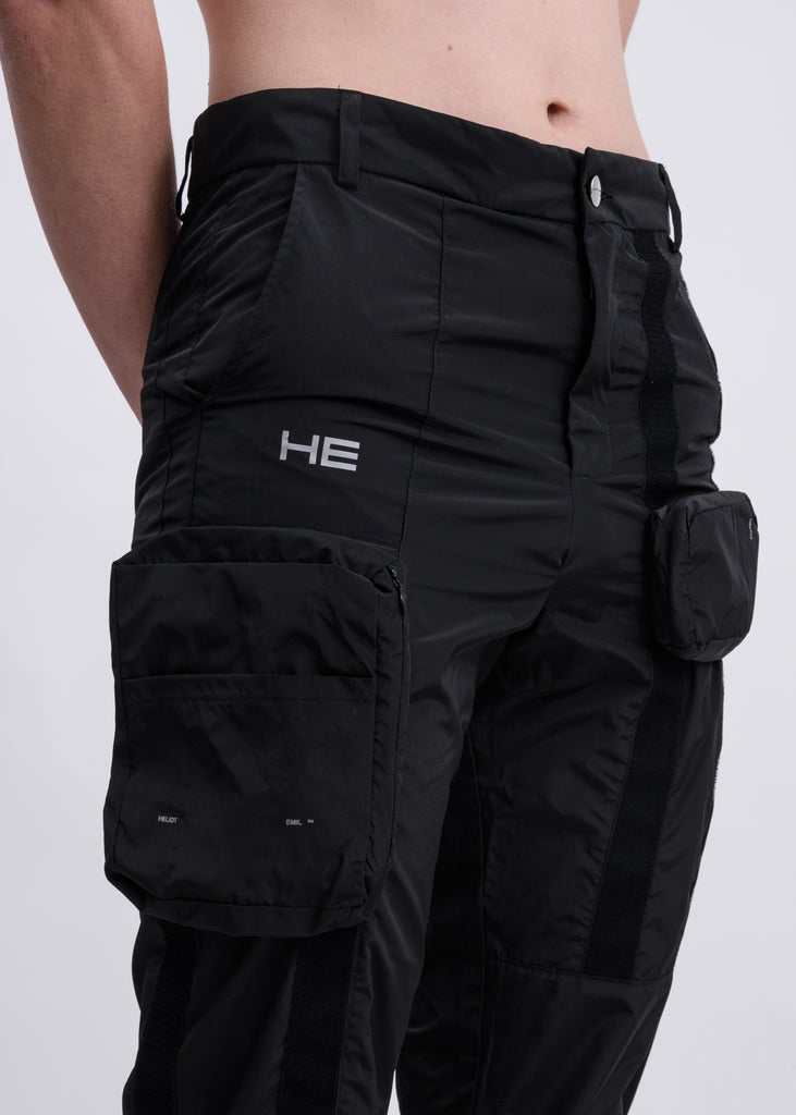 Black Velcro Cargo Pants