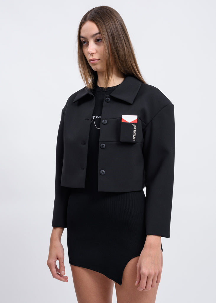 Black Cropped Smoker's Jacket