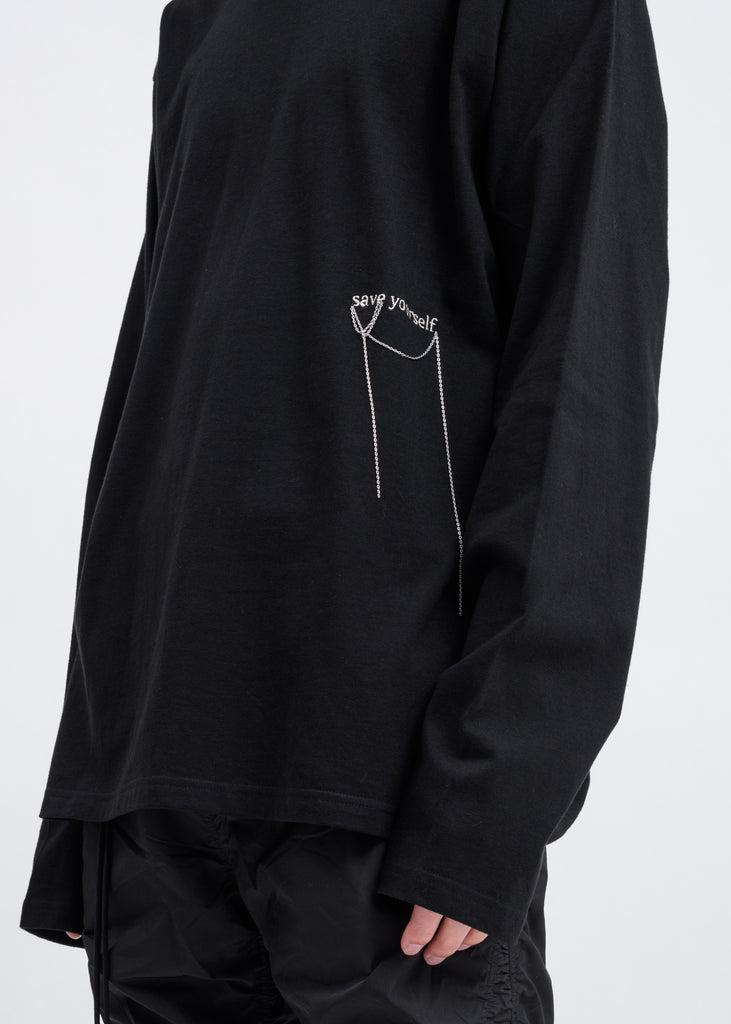 Black Embroidered Long Sleeve