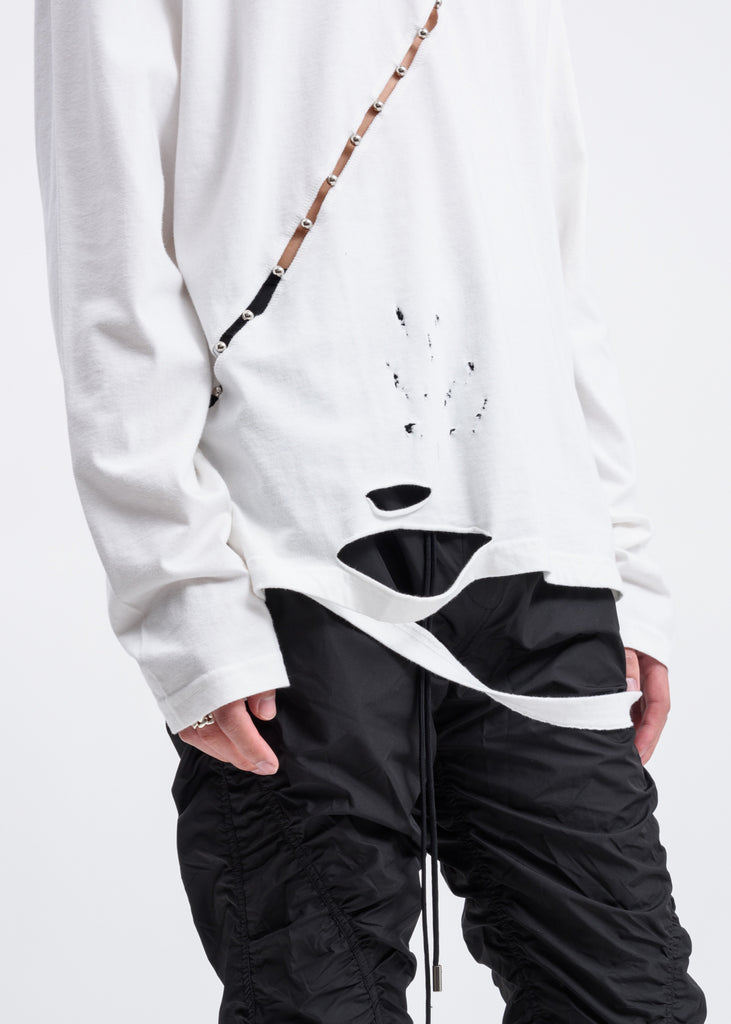 White Slashed Long Sleeves
