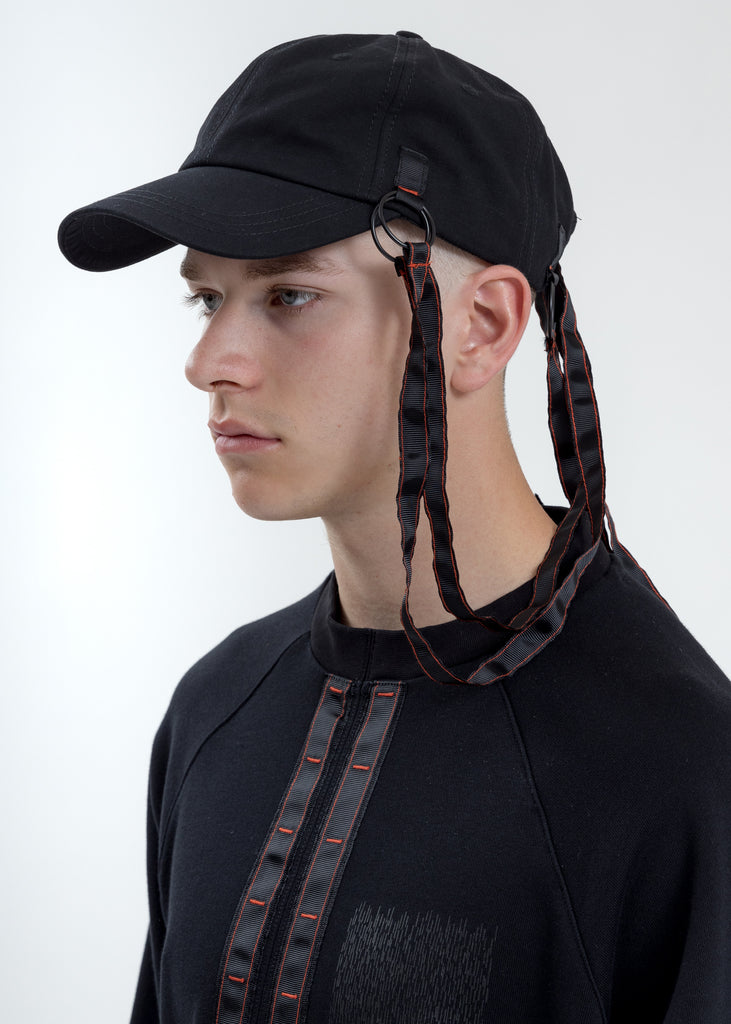 Black Baseball Cap With Tape