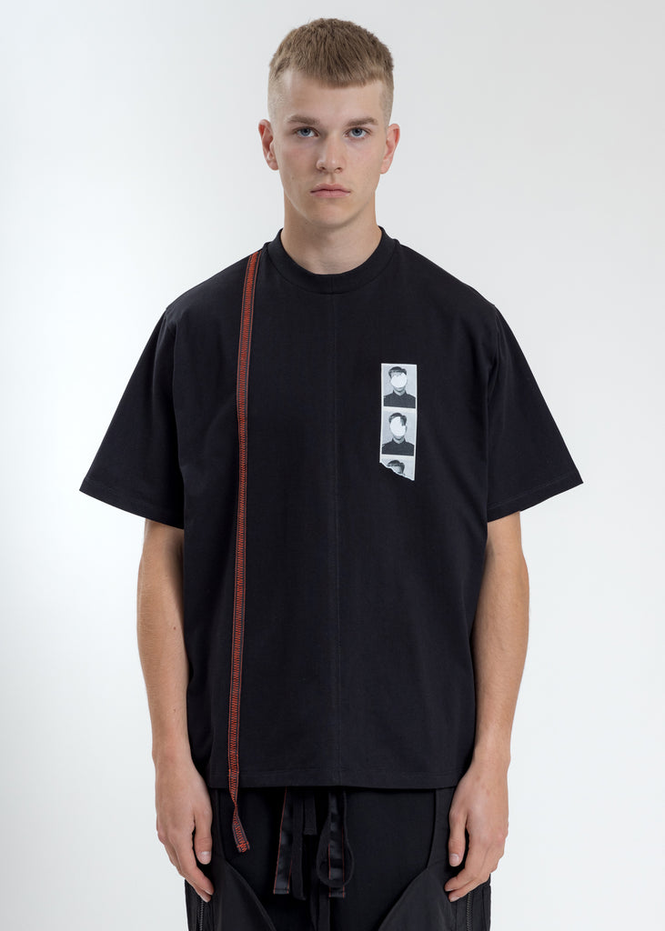 Black Boxy Fit T-Shirt With Tape
