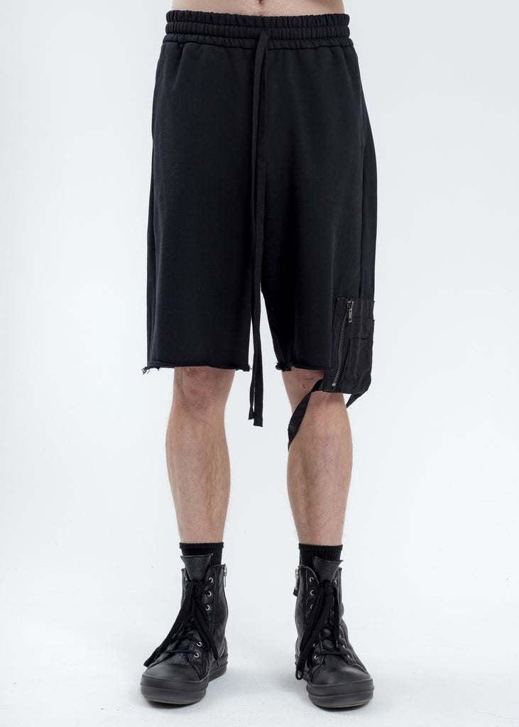 Black Oversized Short With Nylon Pocket