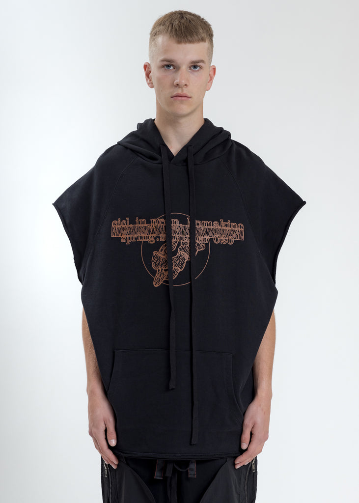 Black Oversized Sleeveless  Hoodie