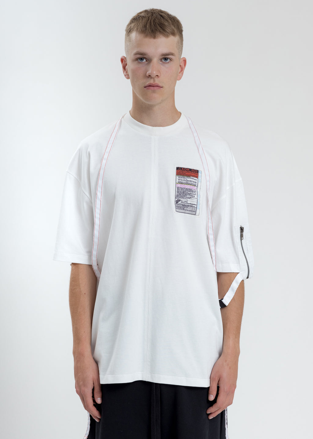 White Loose Fit T-Shirt With Nylon Pocket And Tape