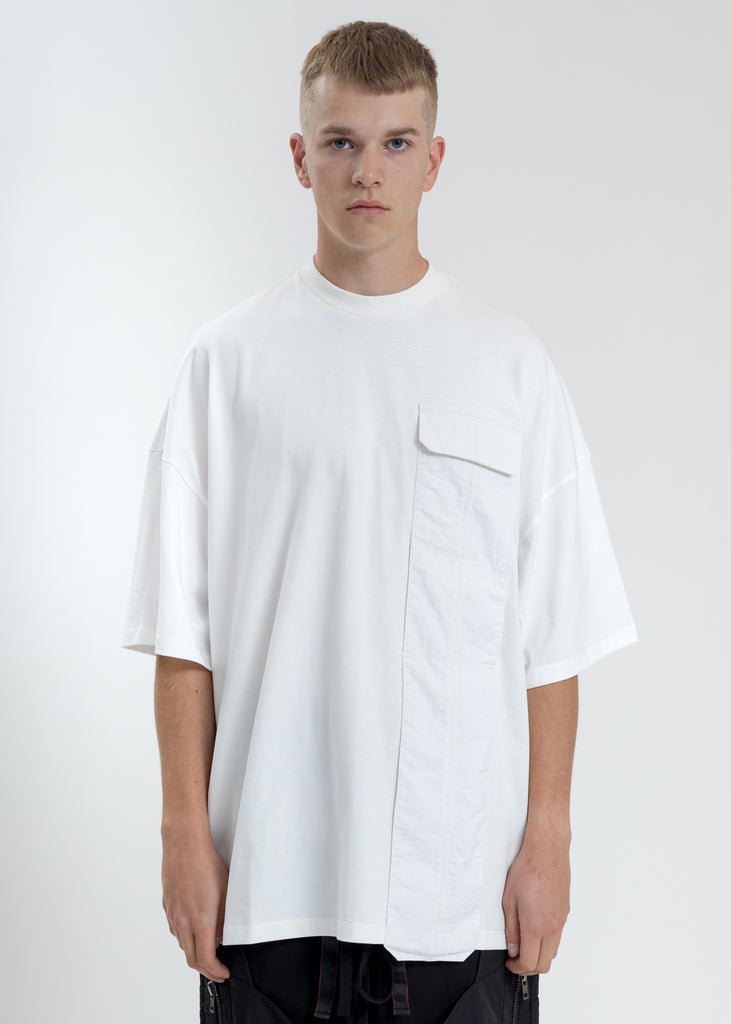 White Oversized T-Shirt With Nylon Pocket