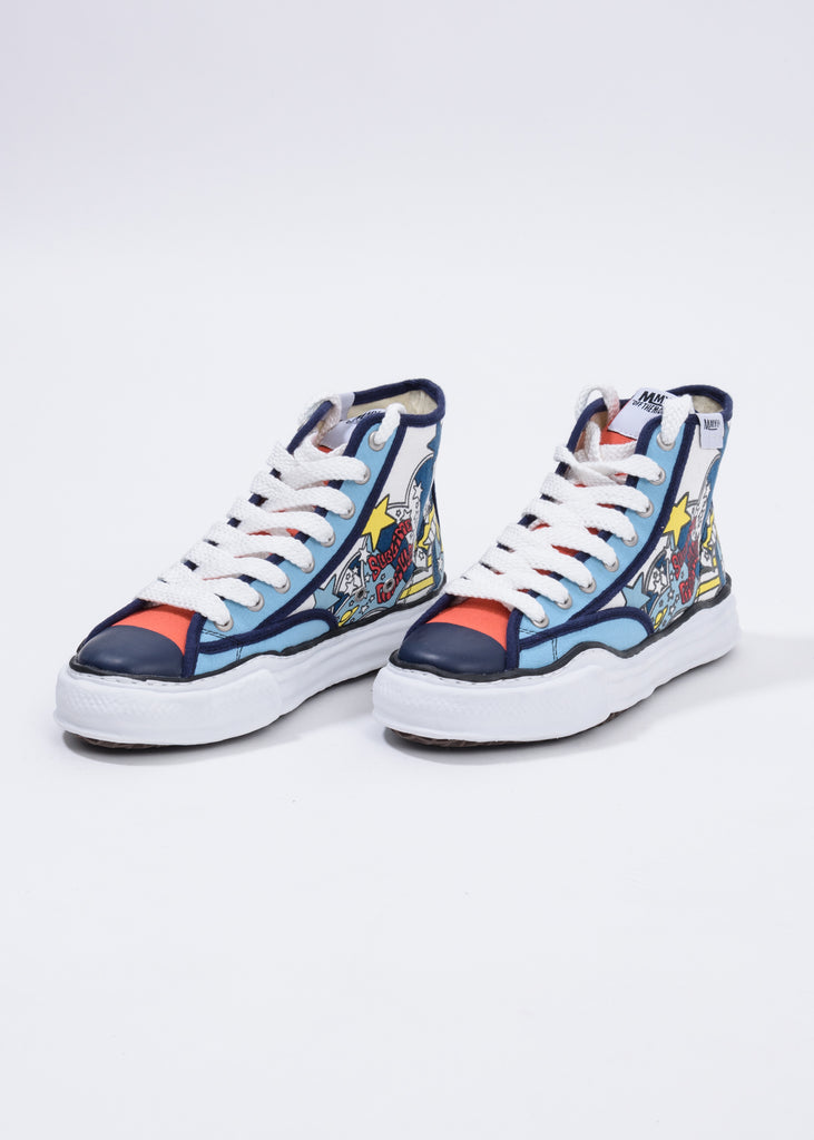 Navy  Printed Canvas Original Sole High Top Sneaker