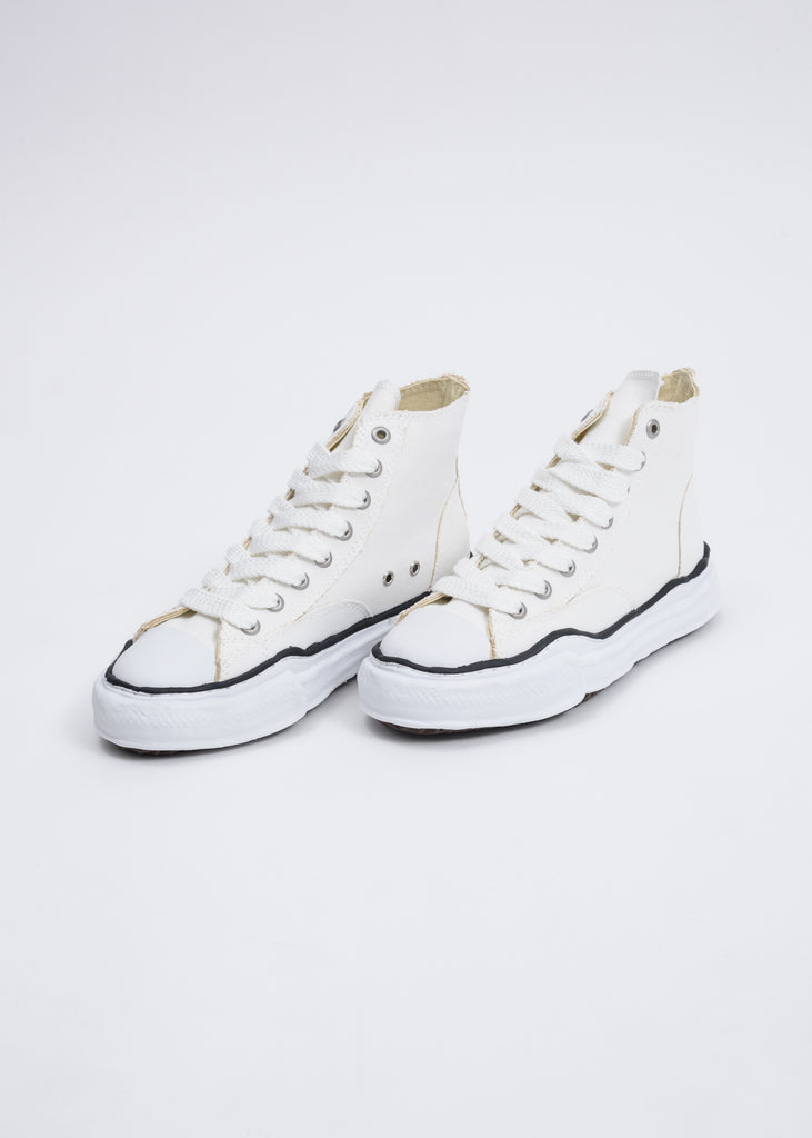 White Canvas High Top Original Sole Sneaker