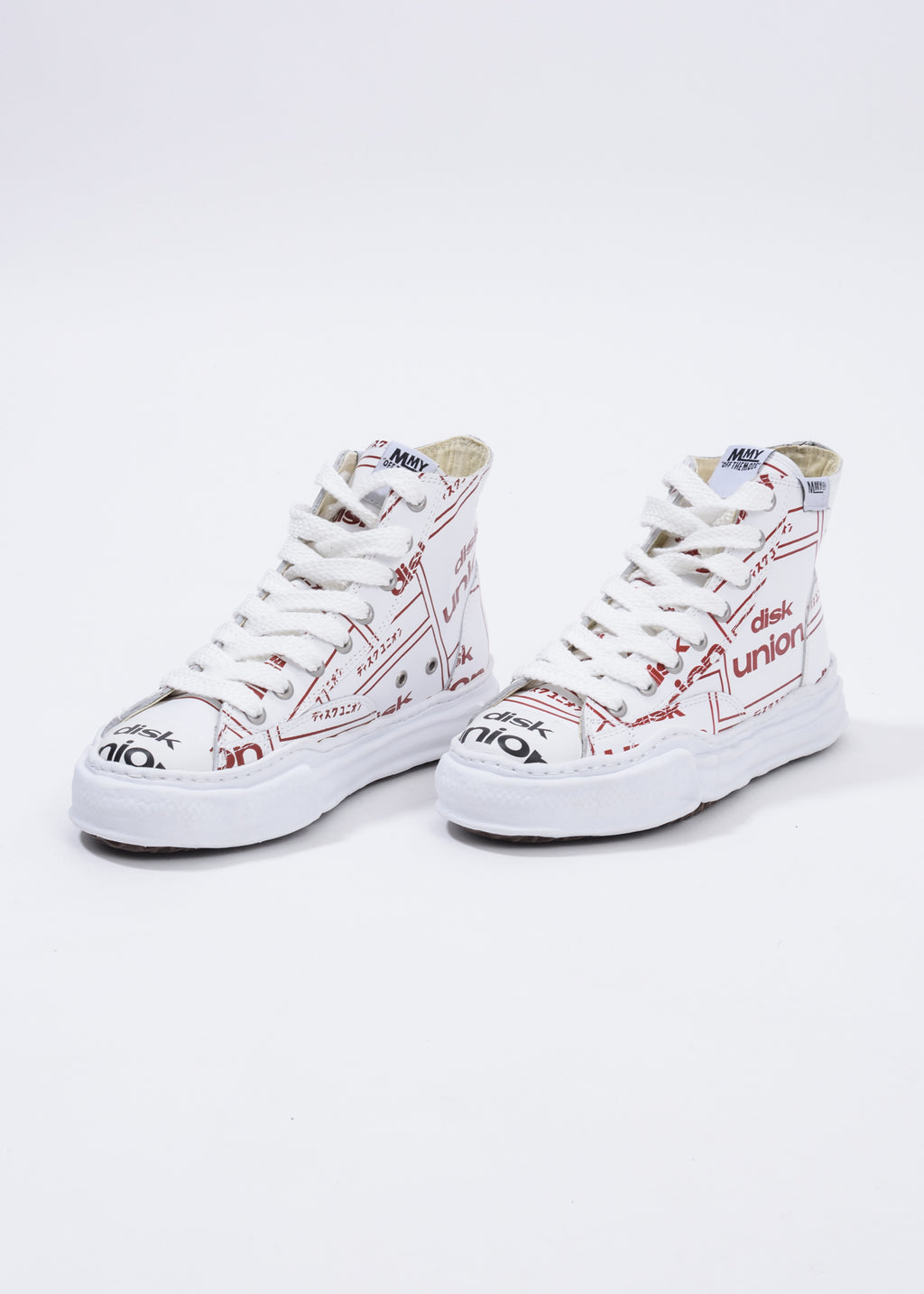 White Disk Union Printed Original Sole High Top Sneaker