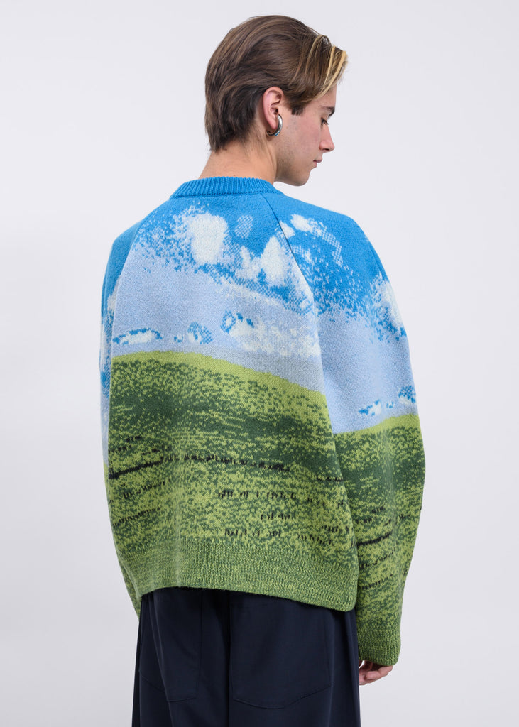 Blue & Green Felted Woven Oversize Sweater