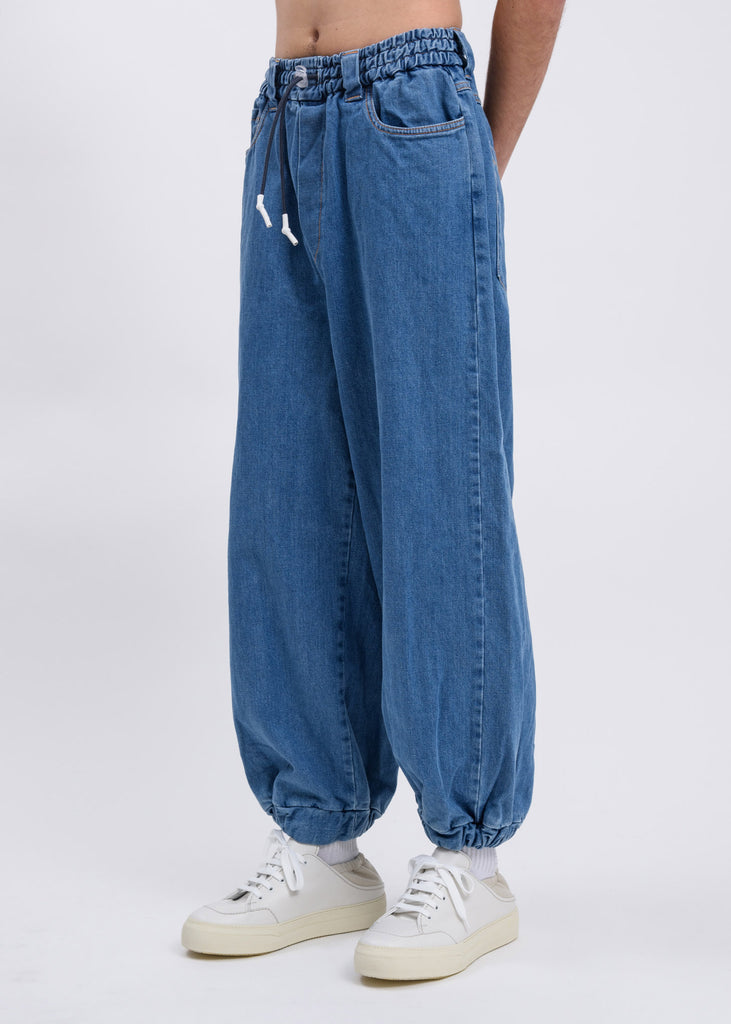 Blue Washed Denim Elastic Fit Loose Pants