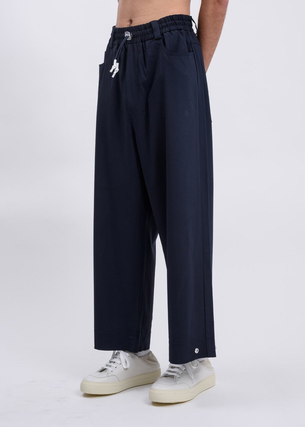 Dark Blue Classic Fit Loose Pants