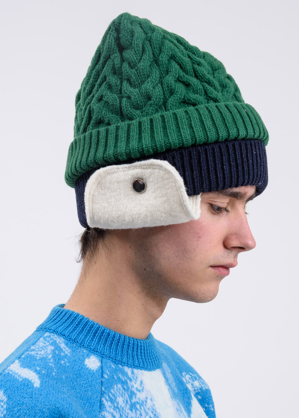 Green And Blue Knit Beanie