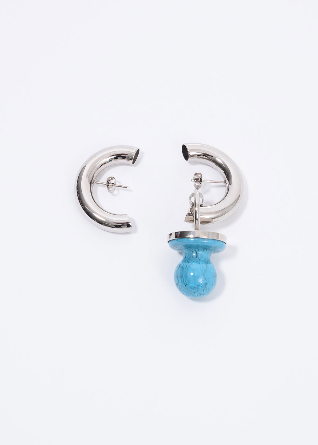 Silver And Blue Dummy Cut Earring