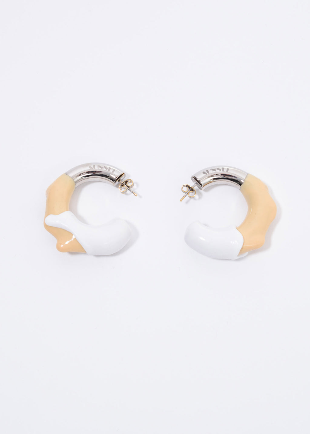 Silver And Cream / White Double Round Earring