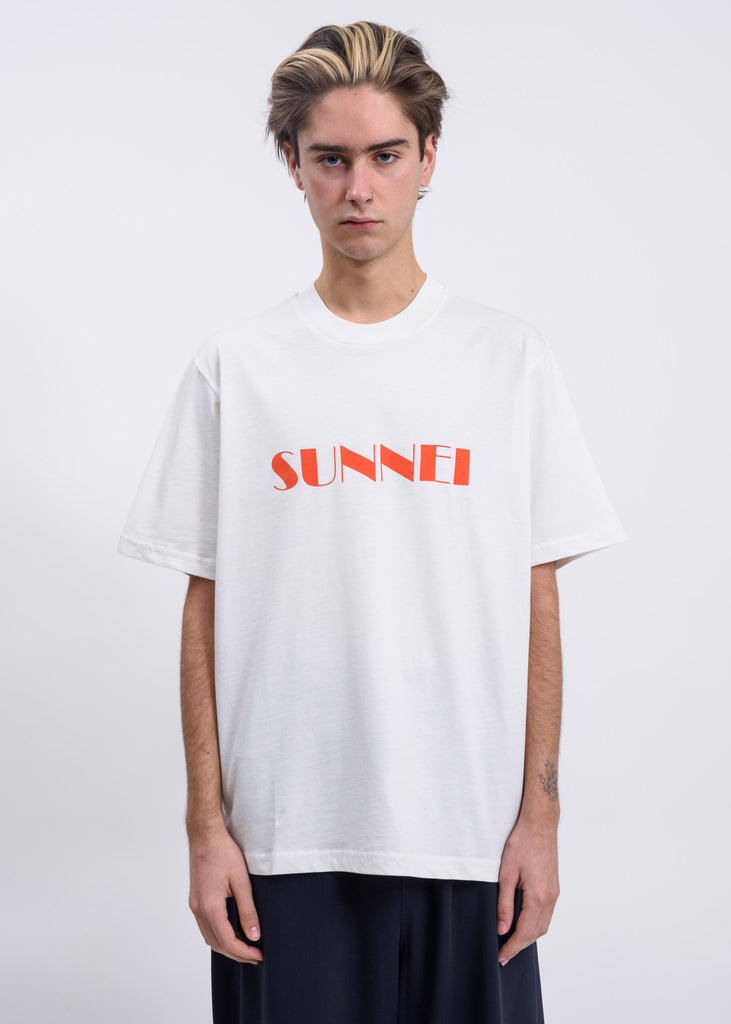 White Orange SUNNEI Logo T-Shirt