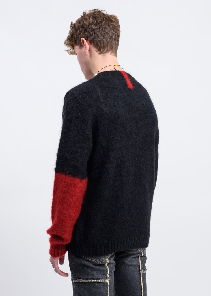 Black Mohair Sweater w/ Red Colour Block