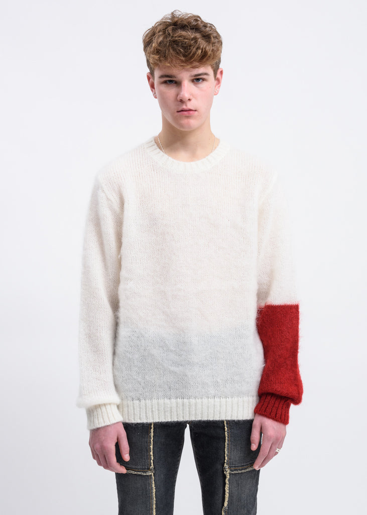 White Mohair Sweater w/ Red Colour Block