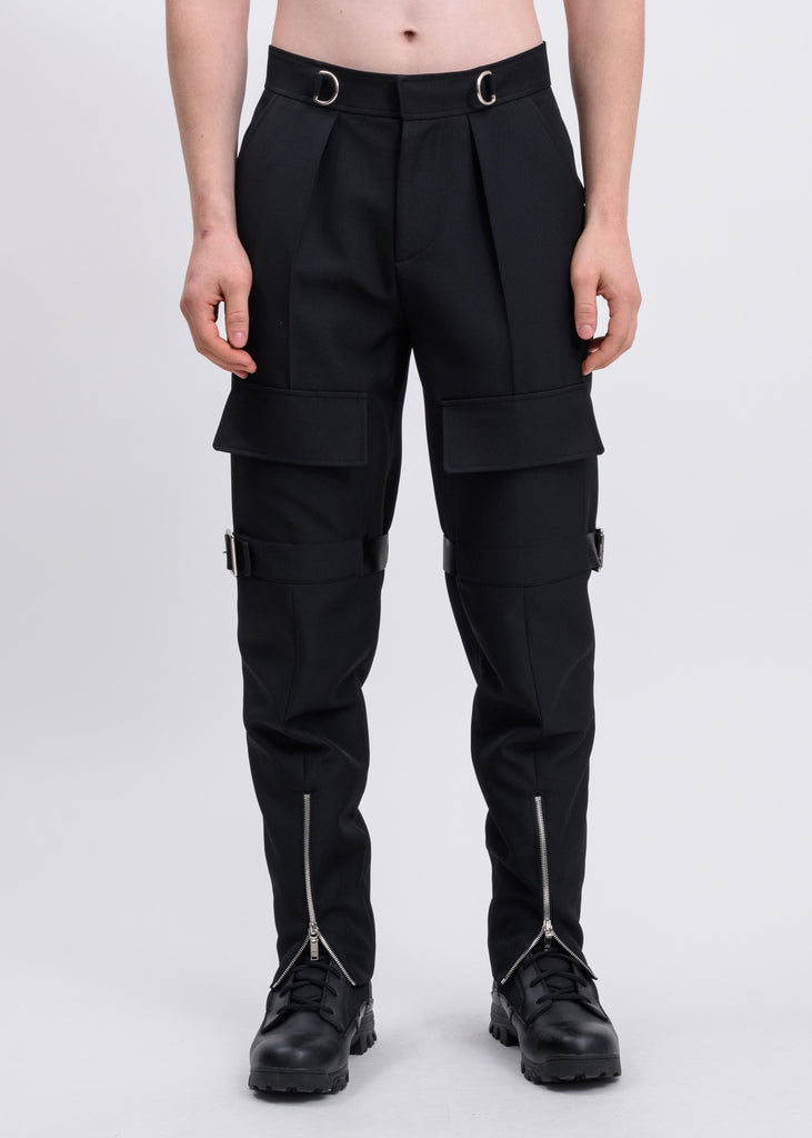 Black Pocket Pants With Buckle And Zipper
