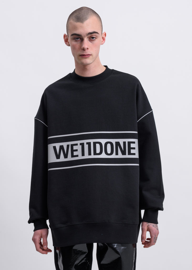 Black Reflective Logo Pullover Sweater