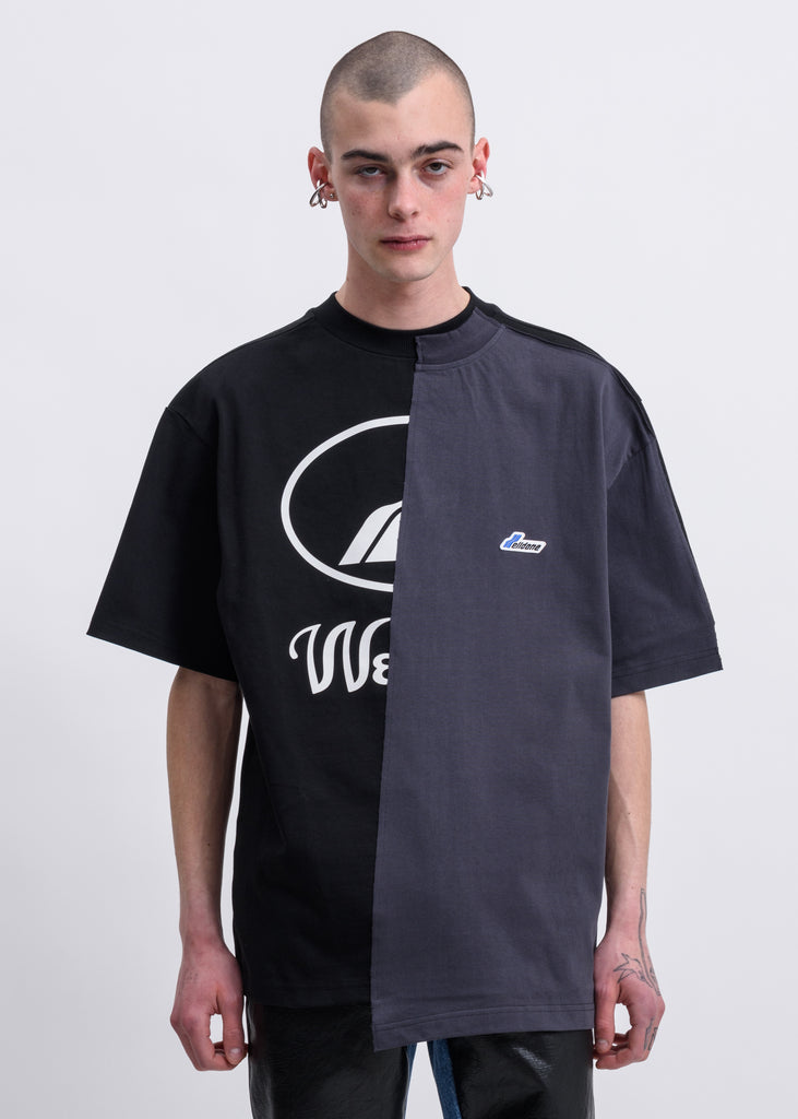 Black Remake Reflective Half Logo T-Shirt