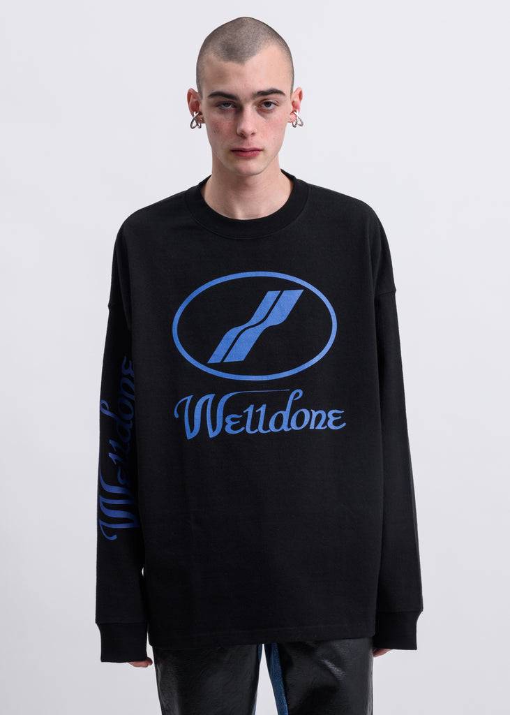 Black WD Print Logo Long Sleeves