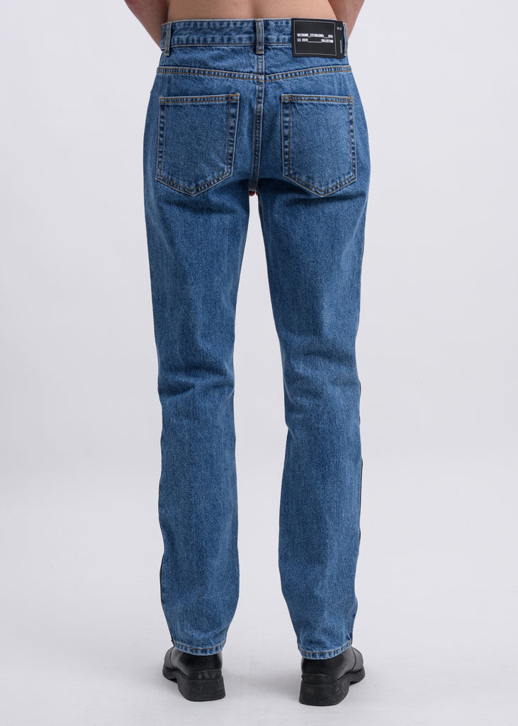 Blue  Faux Leather Blocked Jeans