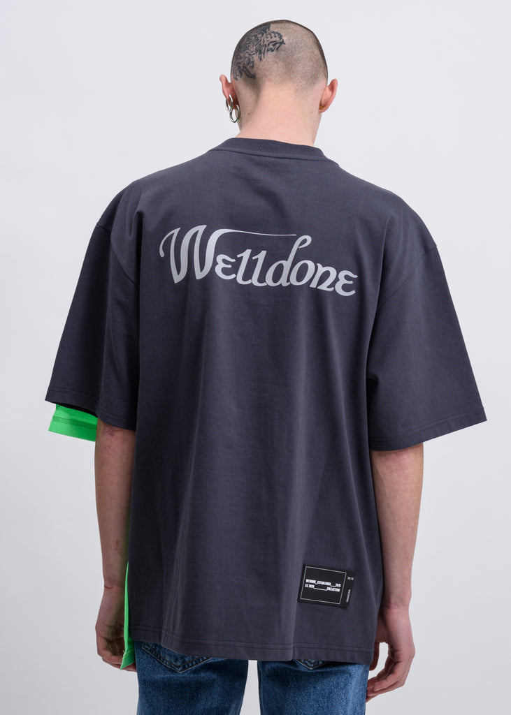 Charcoal Remake Reflective Half Logo T-Shirt