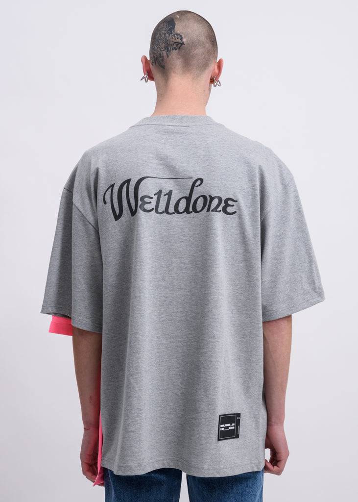 Grey Remake Reflective Half Logo T-Shirt