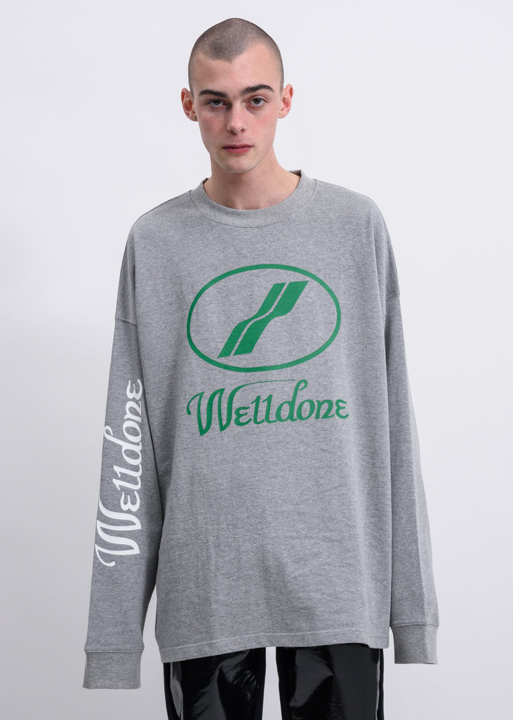 Grey WD Print Logo Long Sleeves