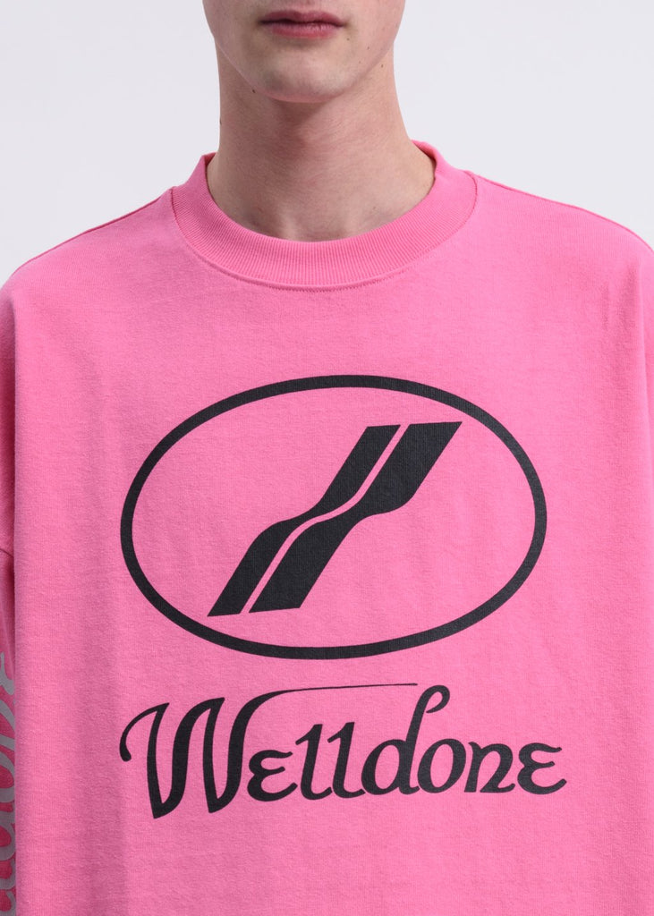 Pink WD Print Logo Long Sleeves