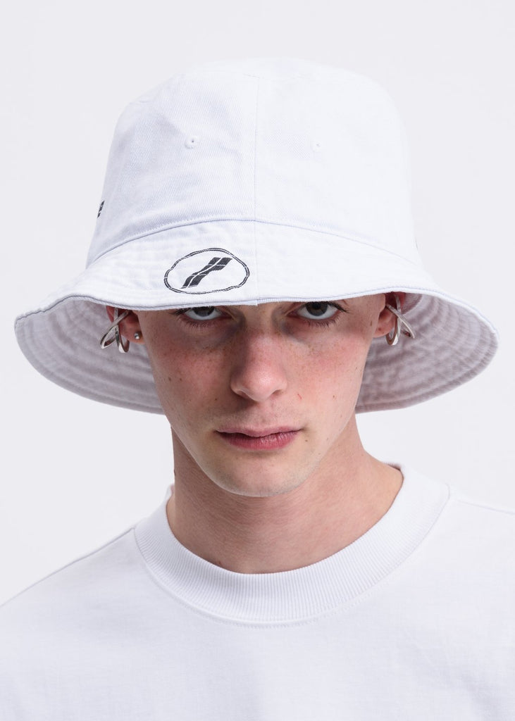 White WE11DONE Stamp Logo Bucket Hat