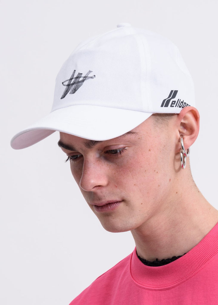 White WE11DONE Stamp Logo Cap