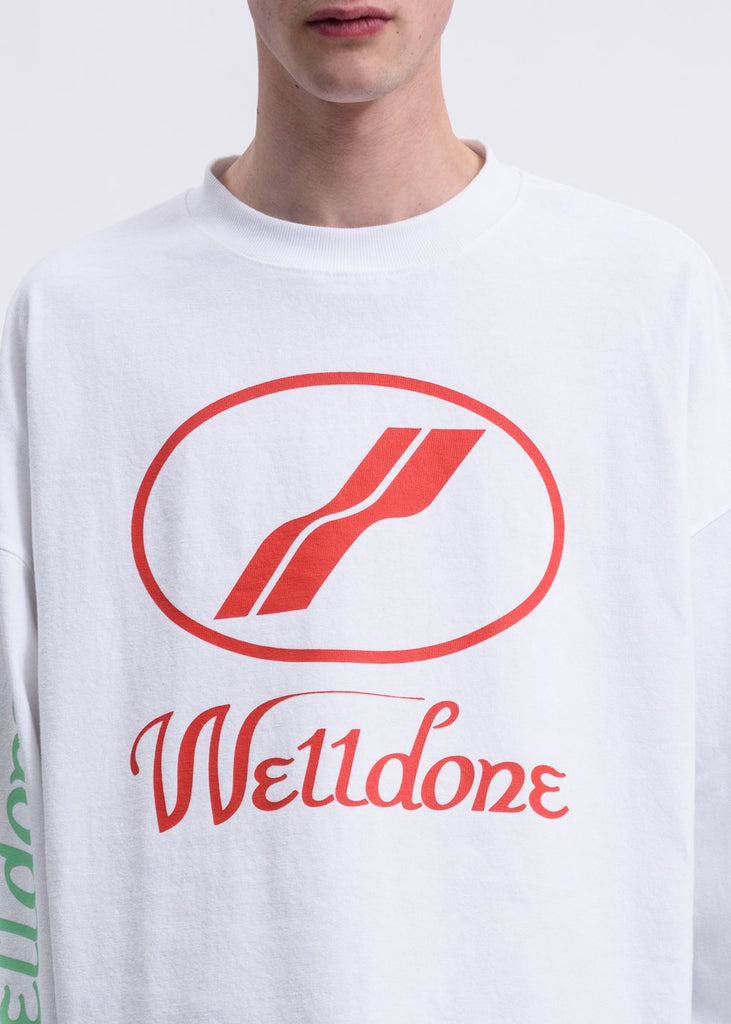 White WD Print Logo Long Sleeves