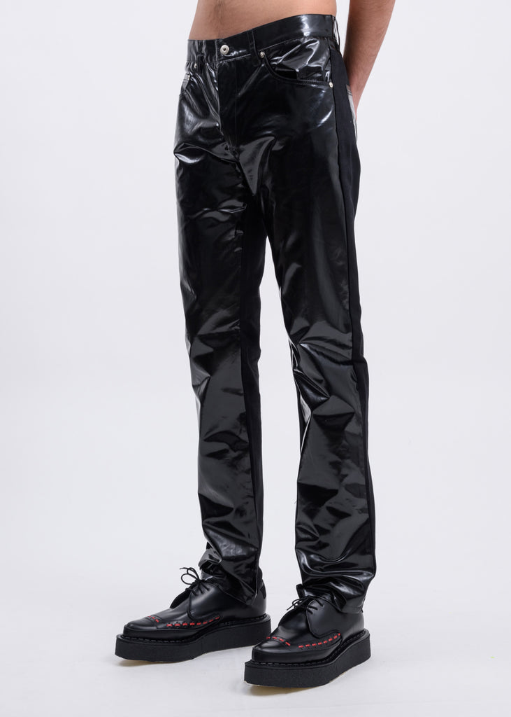 Black PU Five Pocket Trousers