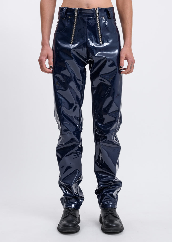 Navy Thor Vinyl Trousers w/ Exposed Zippers