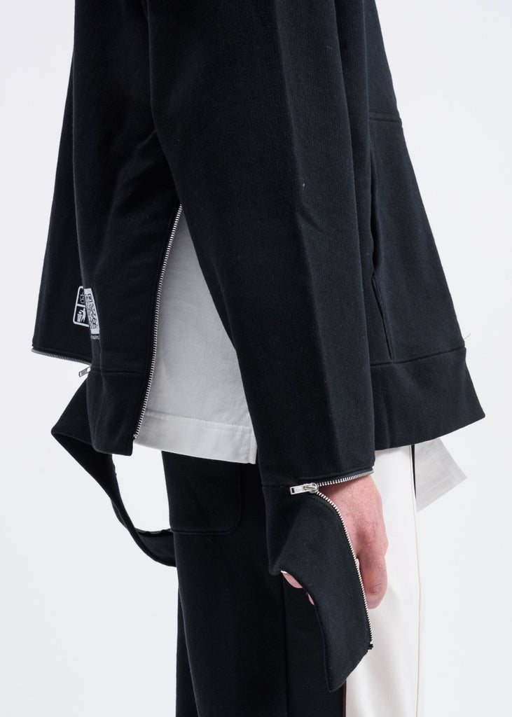 Black Side Slit Zip Hoodie