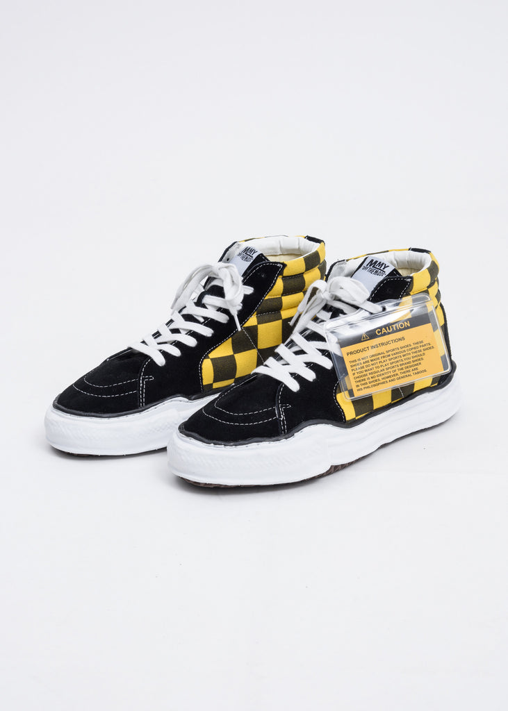 Black and Yellow Gingham Sole High Top Original Sole Sneaker