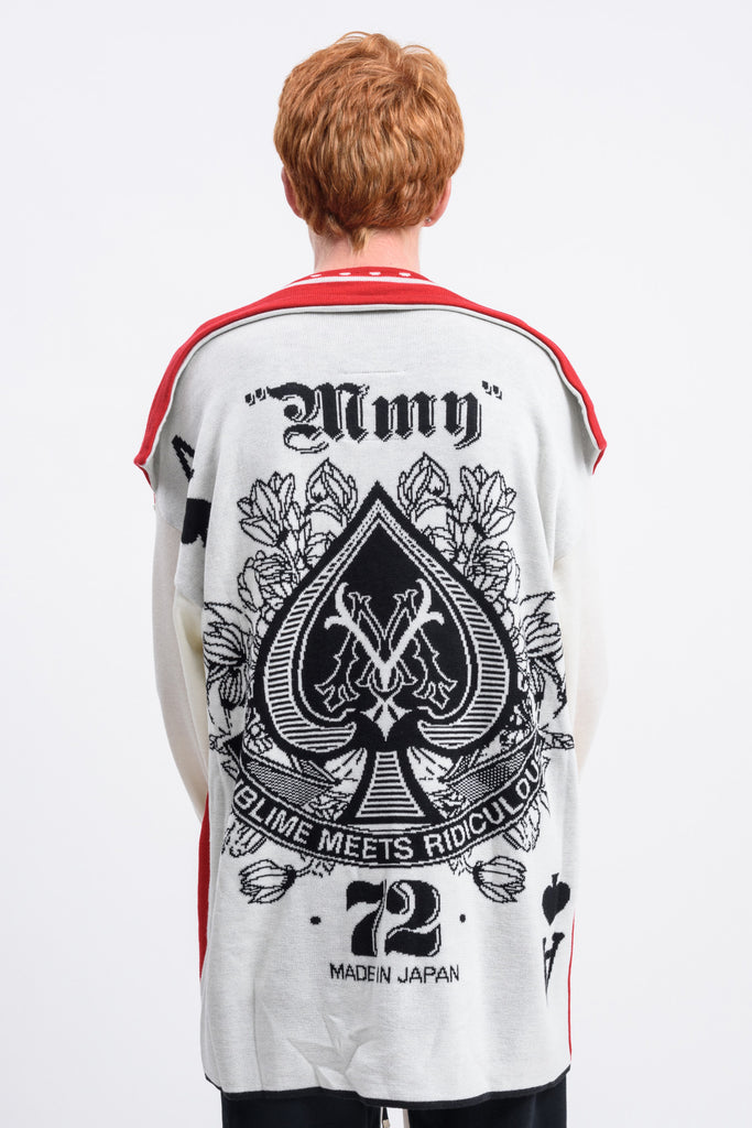 White and Red Playing Cards Knit Sweater