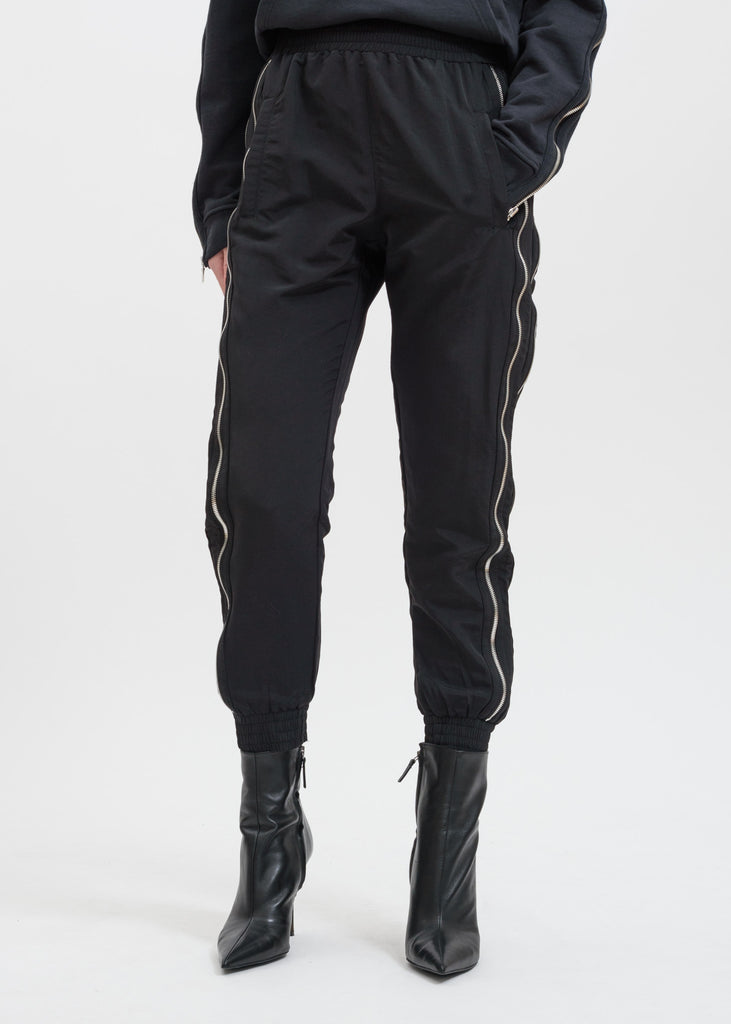 RtA, Black Sporte Double Zip Track Pant, 017 Shop